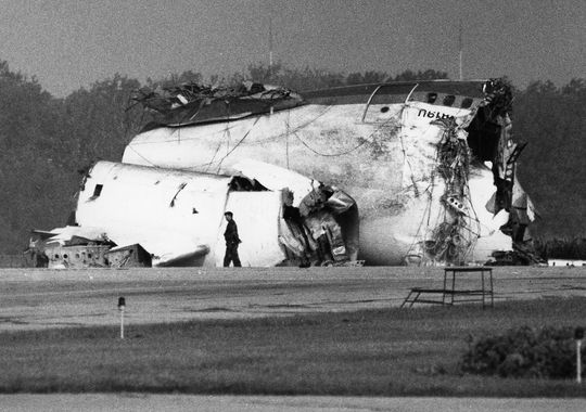 As the aircraft hit the ground it broke into 3 pieces, including the massive tail section seen here.