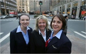 As praise was heaped on the flying skills of Captain Sullenberger, the bravery and actions of the three FA's was rarely discussed, yet it is thanks to them that everyone managed to evacuate the aircraft safely and before the Airbus sank. Pictured here from left to right - Donna Dent, Doreen Welsh and Sheila Dail. You can read their incredible story here - http://wp.me/p2lvHM-6A