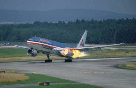 """""""Please just ignore the flames billowing from the number one engine, this is perfectly normal on take-off"""""""