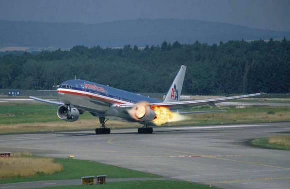 """Please just ignore the flames billowing from the number one engine, this is perfectly normal on take-off"""