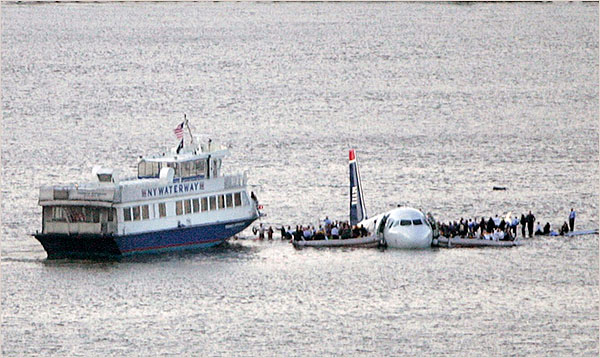 Ferries that cross the Hudson were the first on the scene to rescue the stranded passengers.