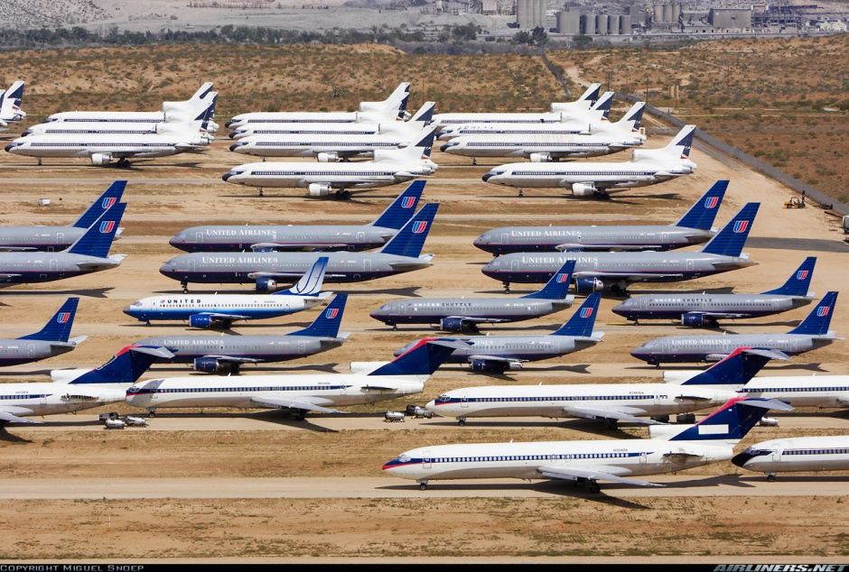 Aircraft graveyard in the Mojave Desert.