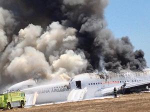 The burning wreckage of Flight 214.