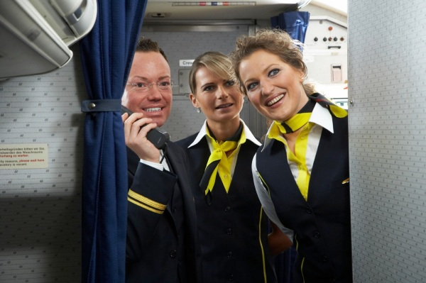 """Here at airline X, we're proud to have some of the best cabin crew in the world, unfortunately they're all on holiday and these lot have been let out of the asylum""."