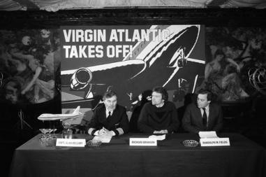 Alan Hellary, Richard Branson and Randolph Fields launch Virgin Atlantic at the 1984 press conference.