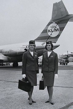 #BringingBackTheGlamour. KLM dollies pose in front of a DC-9 in the 1960's.