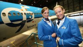 """On October 7 2014, KLM's anniversary, Camiel Eurlings (President and CEO) unveiled the """"KLM 95 Years"""" logo on an MD-11 aircraft. From this day on, for the duration of KLM's anniversary, one aircraft of each type in the intercontinental fleet (Boeing 777-300/200, 747-400, 747 Combi, and Airbus 330-200/300) will display the """"KLM 95 Years"""" logo on its fuselage."""