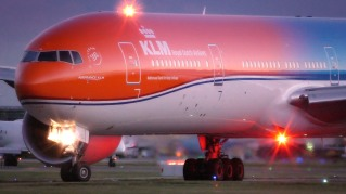 "On June 14 2016, KLM Royal Dutch Airlines introduced its unique orange-coloured Boeing 777-300. The introduction of the special aircraft was partly prompted by a social media post KLM published on King's Day 2015. At the time, KLM's followers were presented with a picture of an orange aircraft, along with the question: ""Should we colour orange next year on King's Day? #OrangeExperience"". 30,000 likes and 2,500 positive responses later, KLM rolls out its only orange aircraft today. KLM will deploy the orange Boeing 777 on routine flights within the network and, whenever possible, during events that offer opportunities to promote the Netherlands."