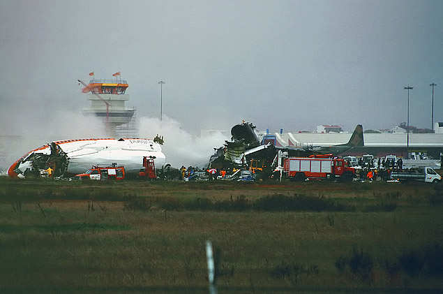The aircraft split into three pieces and caught fire.