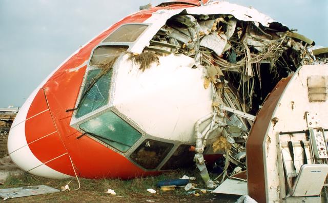 The broken cockpit of MP495.