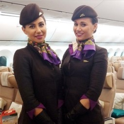 Etihad crew work the new uniform.