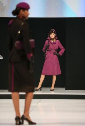 Twenty-two cabin crew graced a catwalk wearing various combinations of the new uniform.