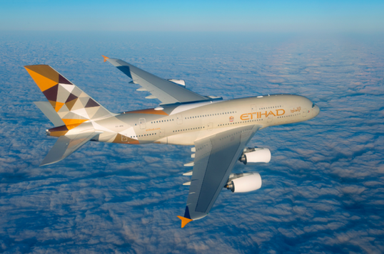 Etihad's brand new Airbus A380 in the stunning new livery 'Facets of Abu Dhabi'.