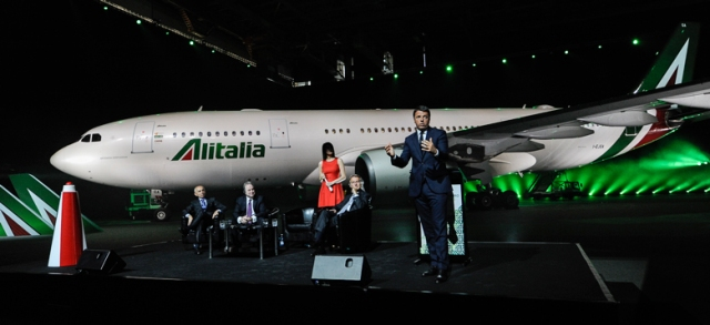 Italian Prime Minister Matteo Renzi speaks at the launch event