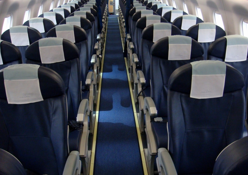The cabin onboard a BA CityFlyer E-170 aircraft.