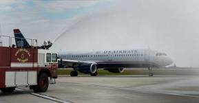 On the evening of Friday 16, October 2015 the final US Airways flight took to the skies, marking the end of one of America's oldest and most well know airlines. Flight 1939 received the obligatory water cannon salute from the fire team at Charlotte Douglas International Airport. Take a look at our US Airways picture gallery https://confessionsofatrolleydolly.com/2015/10/19/farewell-us-airways/